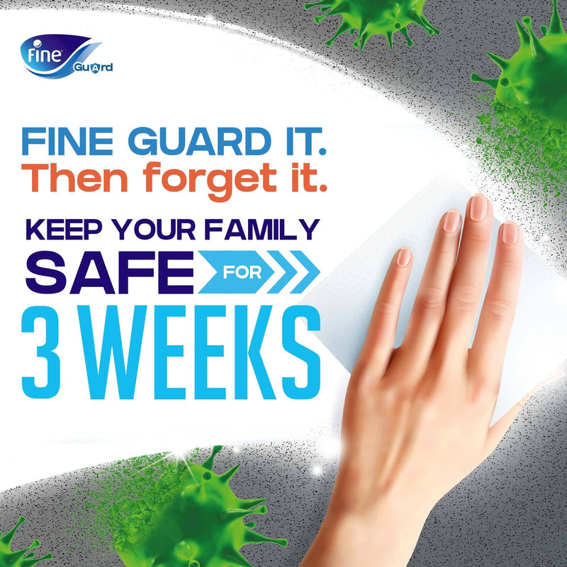 Fine Guard Ultra Wipes, Kills 99.9% of Bacteria and Viruses, Protection For Up To 21 Days, 16 Wipes