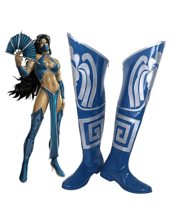 Mortal Kombat Game Princess Kitana Blue Cosplay Boots Shoes