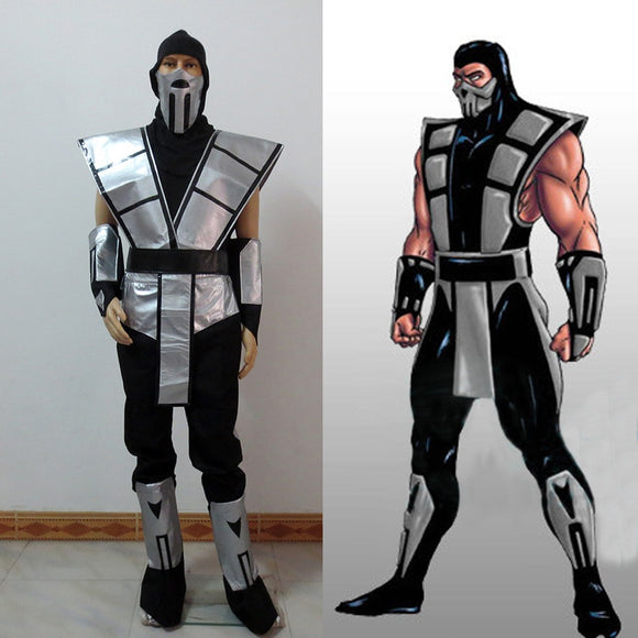 Scorpion Mortal Kombat 3 Silver Outfit Cosplay Costume With Gloves And Mask