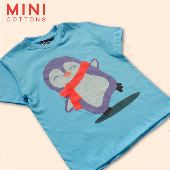 MINI COTTON KAOS GRAFIS PENGUIN BIRU