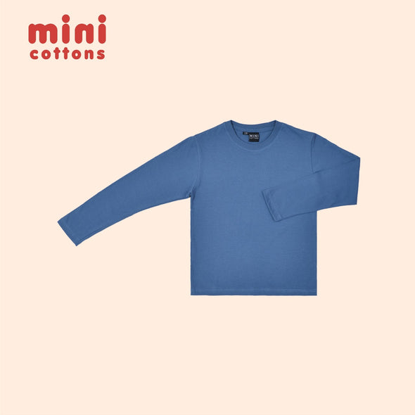 MINI COTTONS KAOS POLOS PANJANG ANAK BLUE BASIC TEE