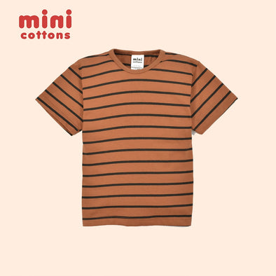 MINI COTTONS BROWN BLACK STRIPED TEE