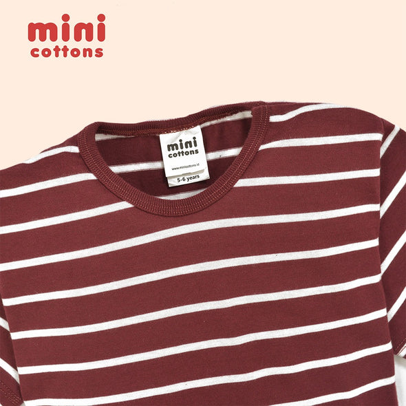 MINI COTTONS KAOS PANJANG ANAK MARON WHITE STRIPED TEE