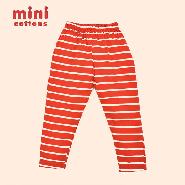 MINI COTTONS CELANA PANJANG ANAK RED WHITE STRIPED TEE