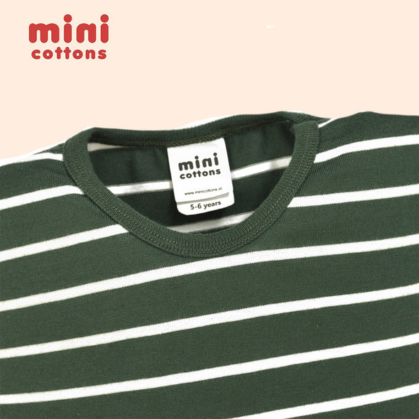 MINI COTTONS KAOS PANJANG ANAK GREEN WHITE STRIPED TEE