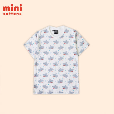 MINI COTTONS KAOS FULLPRINT HIU PUTIH