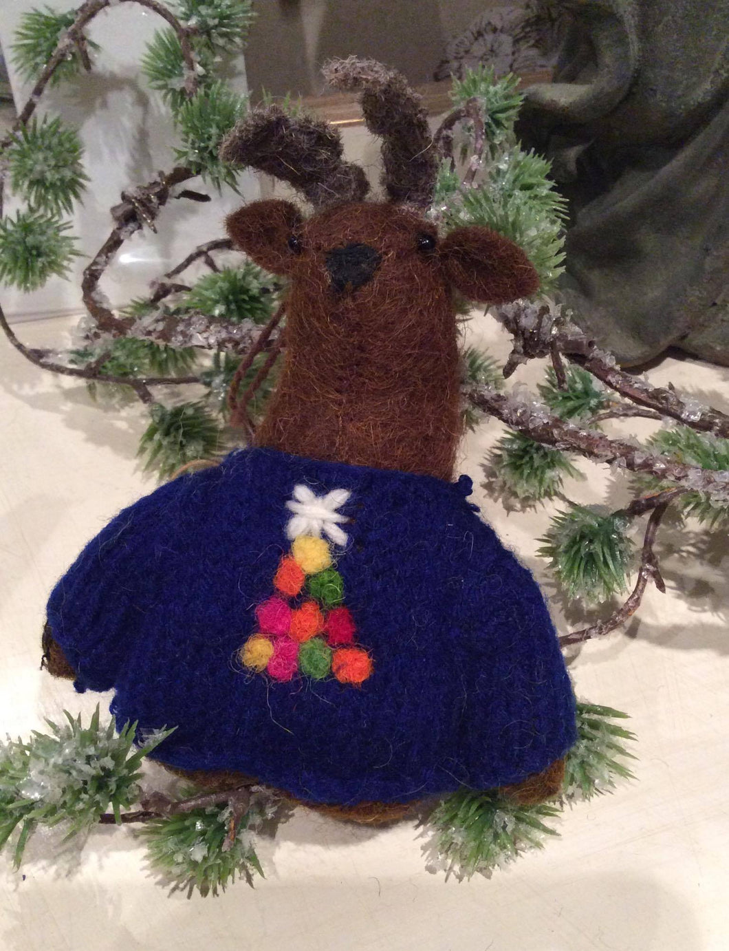 Reindeer with Blue Christmas Jumper