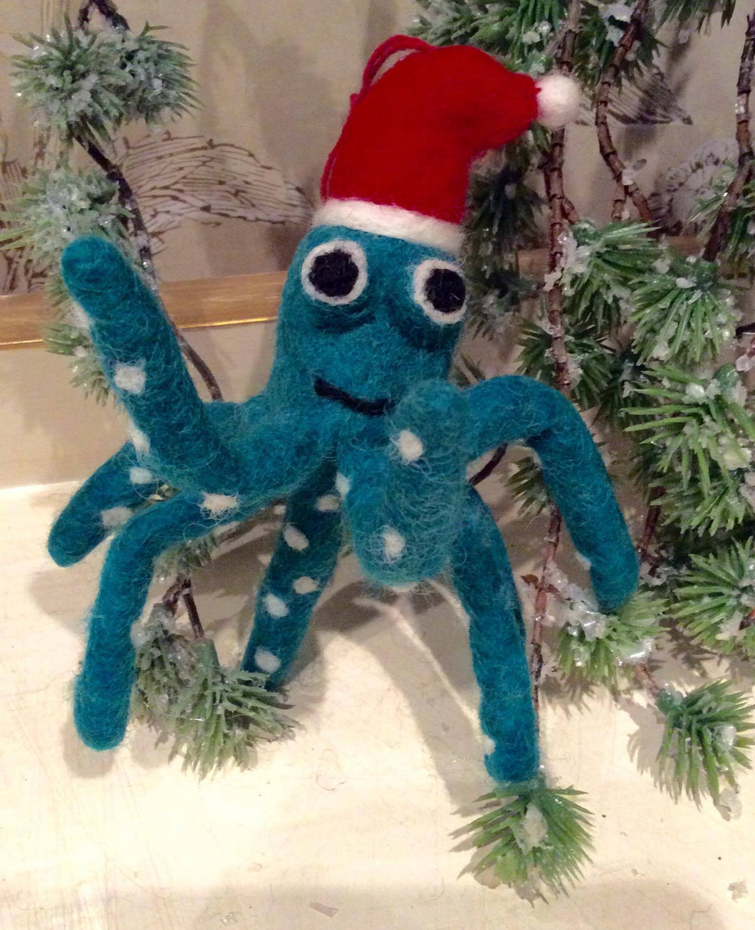 Blue Octopus in Christmas Hat