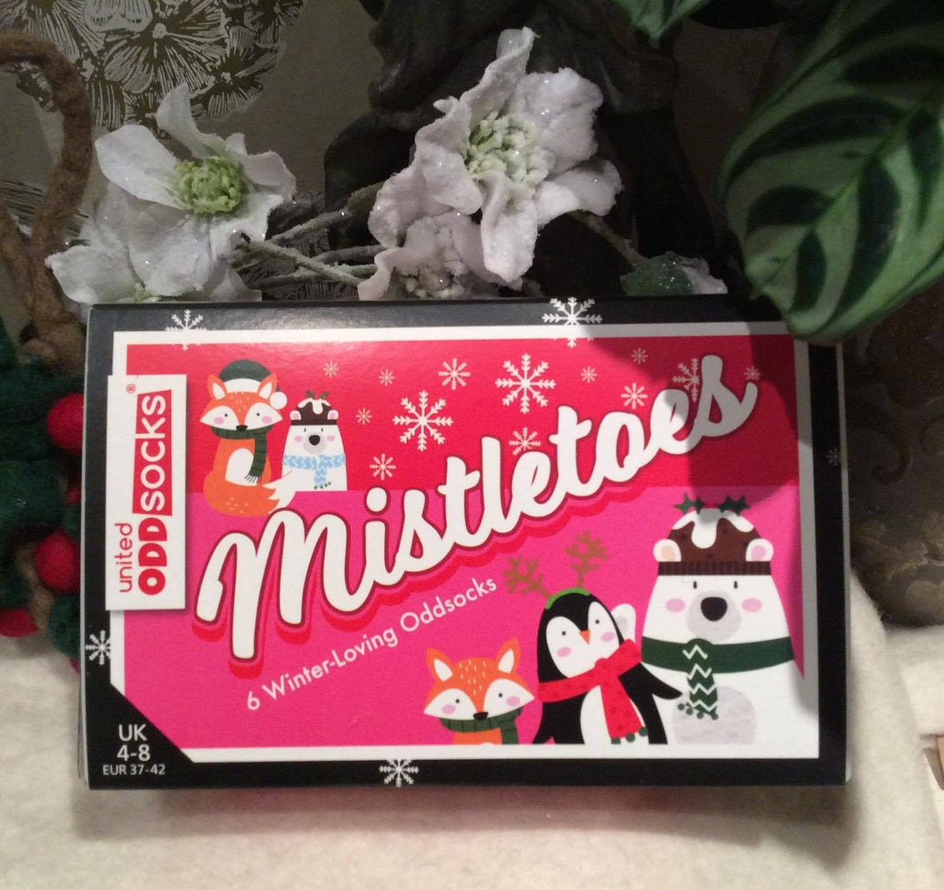 Mistletoes Ladies Xmas Odd Socks in a Box (6 in a pack)