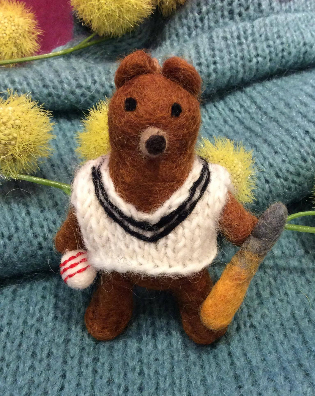 Bear with Cricket Jumper Hanging Felt
