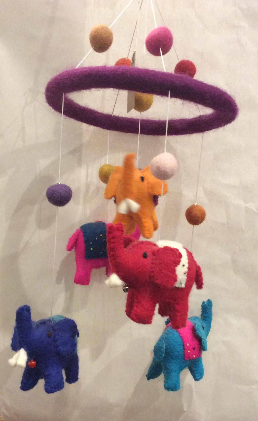 Multi-colour Elephant Felt Mobile