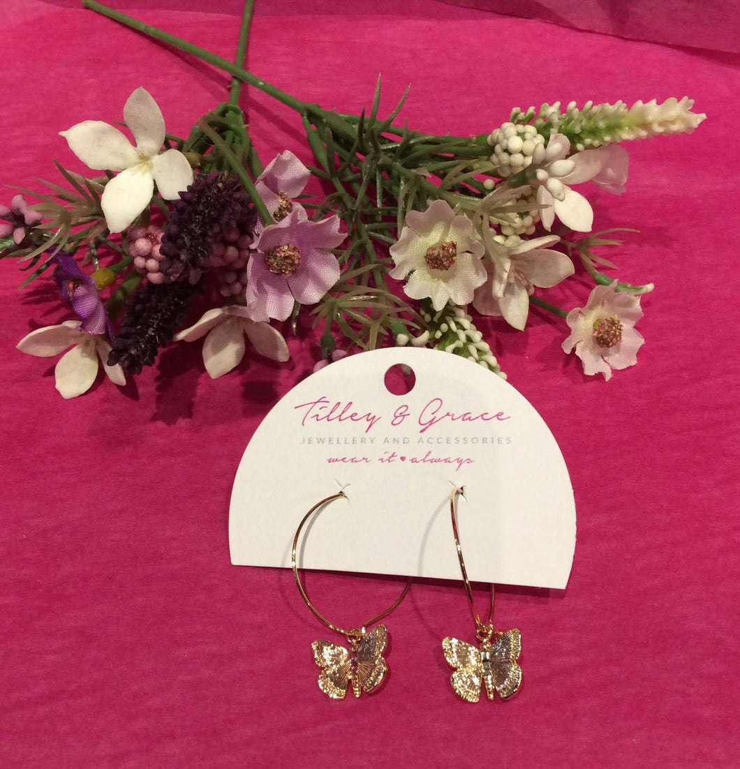Aimee Butterfly Earrings (Gold or Silver)
