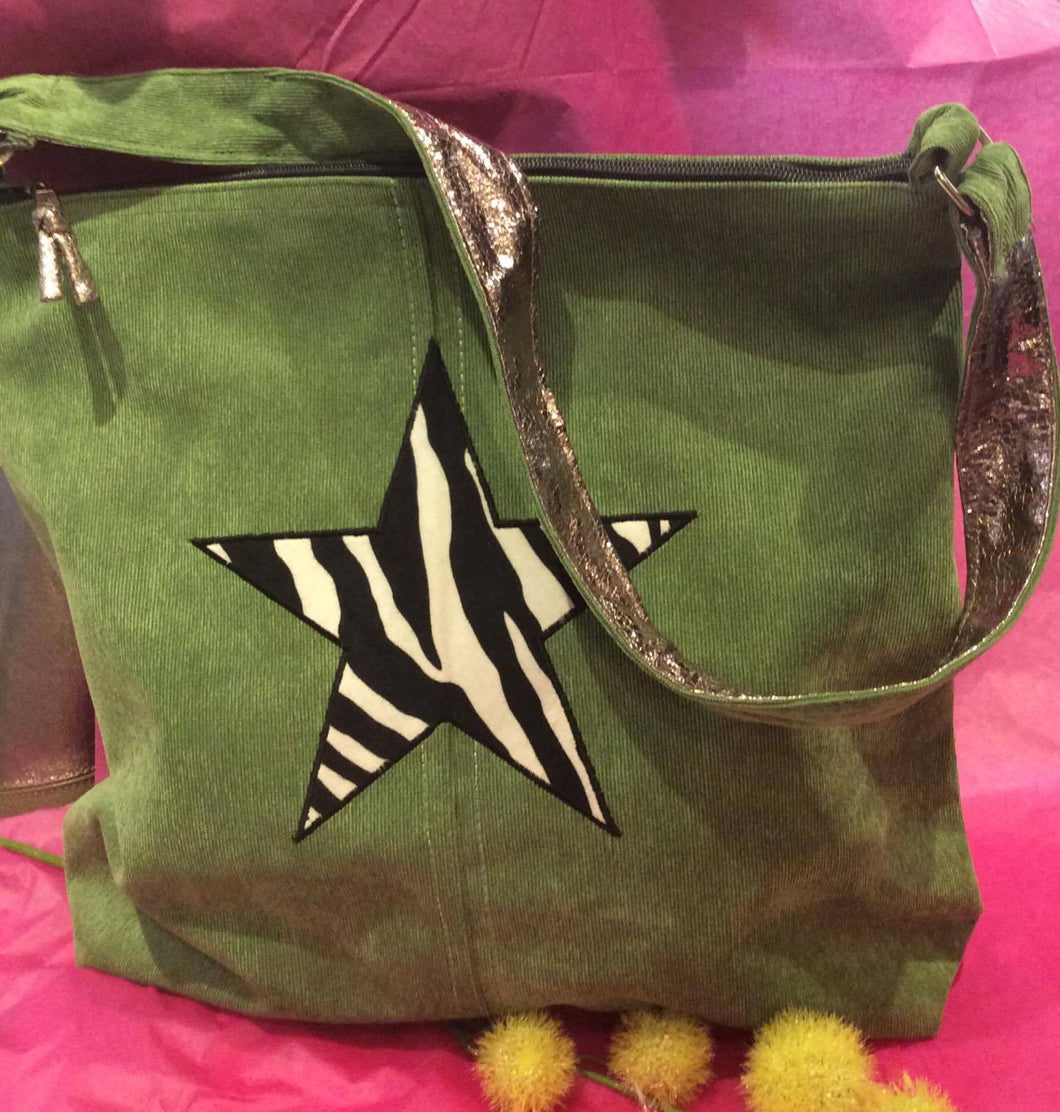 Corduroy Tote Bag with Zebra Star (2 colours available)