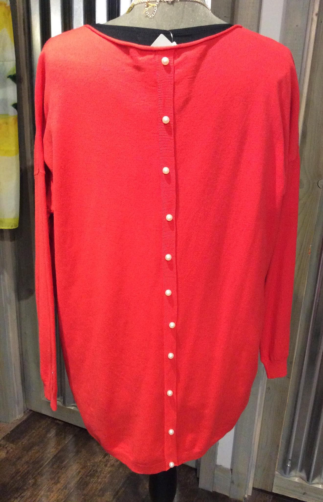 Red Long Pearl Back Jumper