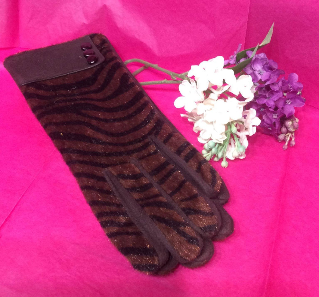 Brown Zebra Gloves