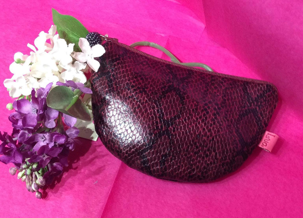 Rounded Faux Snake Pattern Purse