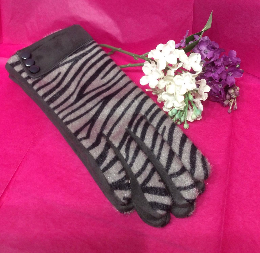 Grey Zebra Glove