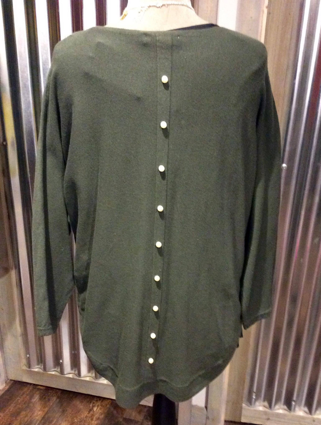 Olive Pearl Back Jumper