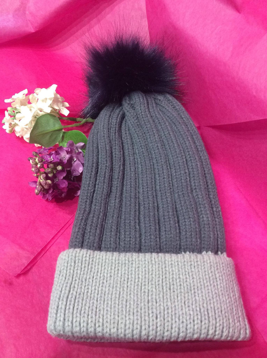 Ribbed Two Tone Faux Fur Bobble Hat (2 colours available)