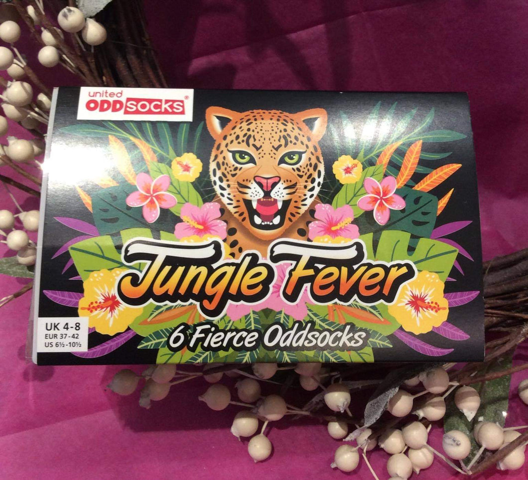 Jungle Fever 6 Odd Boxed Socks Ladies - Sizes 4-8
