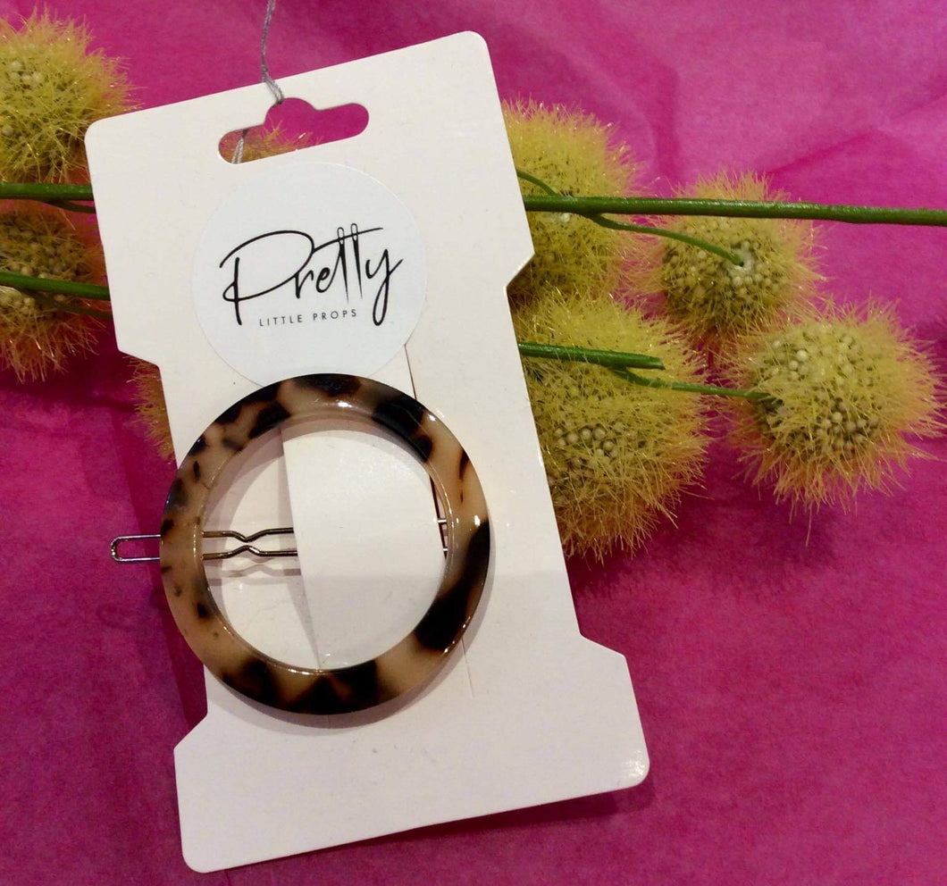 Round tortoise shell light 1 piece hair clip