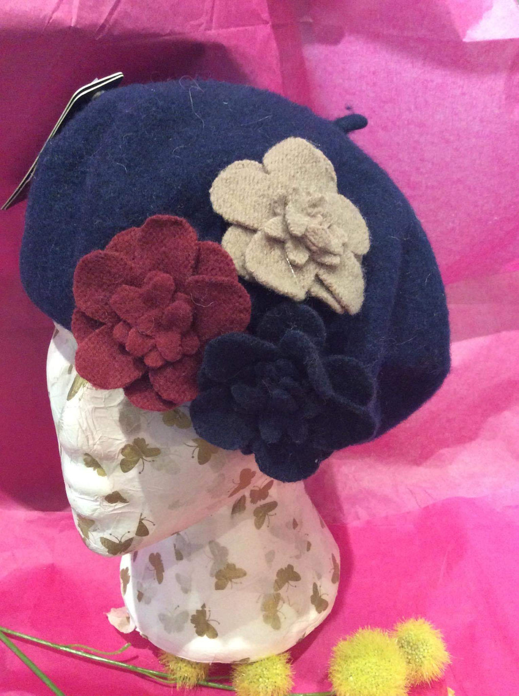 Felt Wool Beret with Flowers (2 colours available)