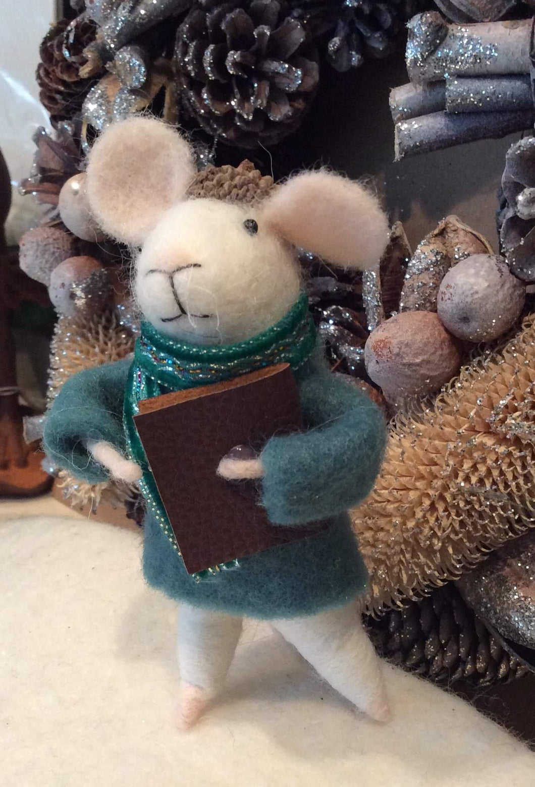 Green Jacket Mouse with Book
