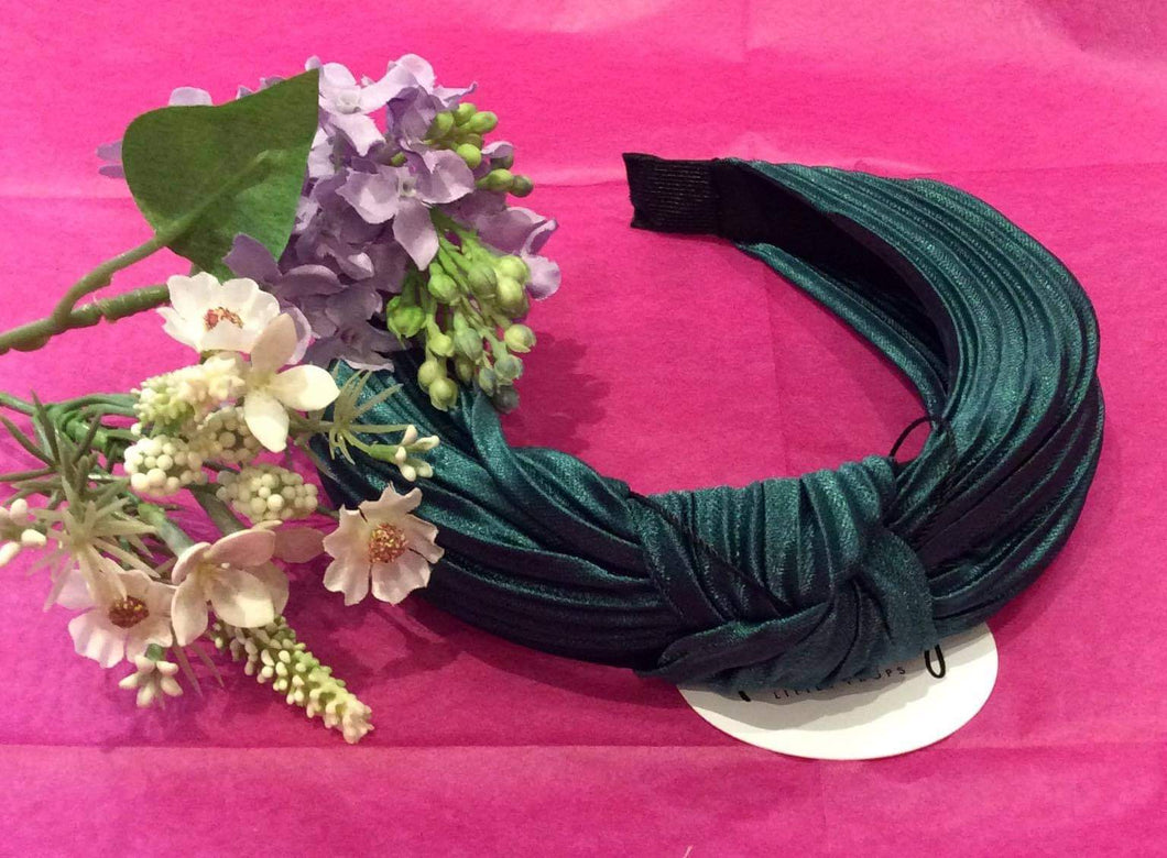 Forest Green Pleated Silk Hairband