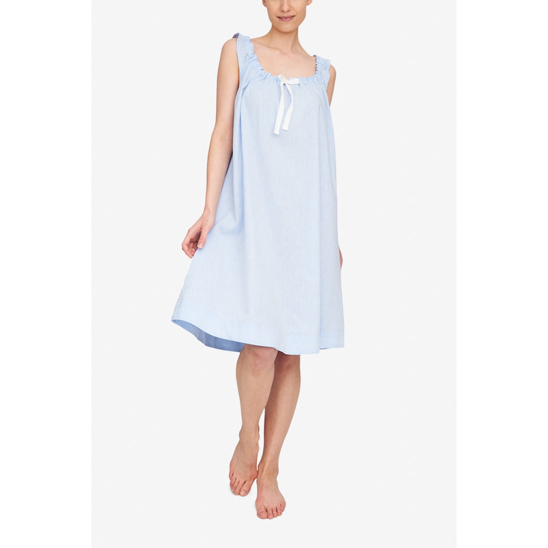 Sleeveless Nightie - Sky Blue Linen Blend