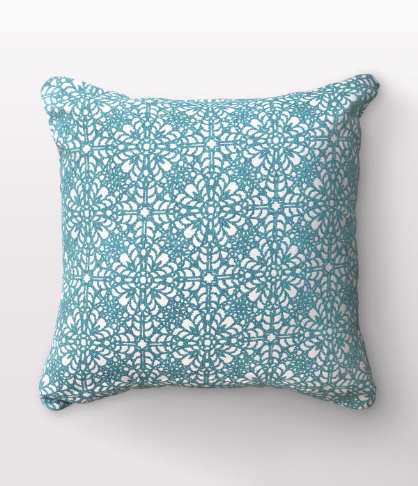 "Tessa Aqua Throw Pillow - 22"" x 22"""