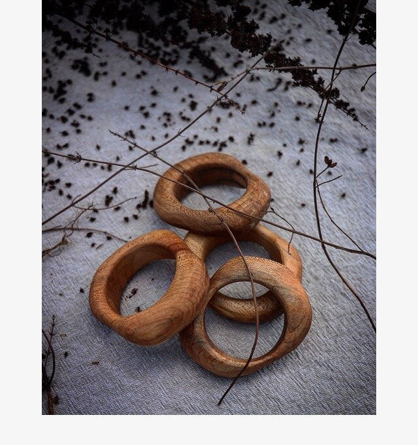 Organic Maple Wood Napkin Rings - Set of 4