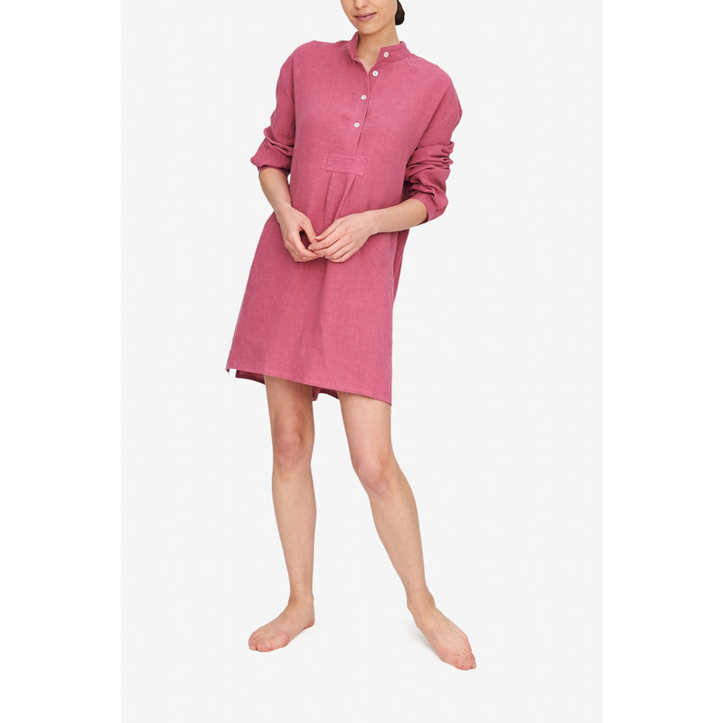 Short Sleep Shirt Rose Washed Linen - Dark Pink