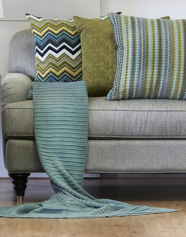 Pleated Knit Throw - Blue Mist
