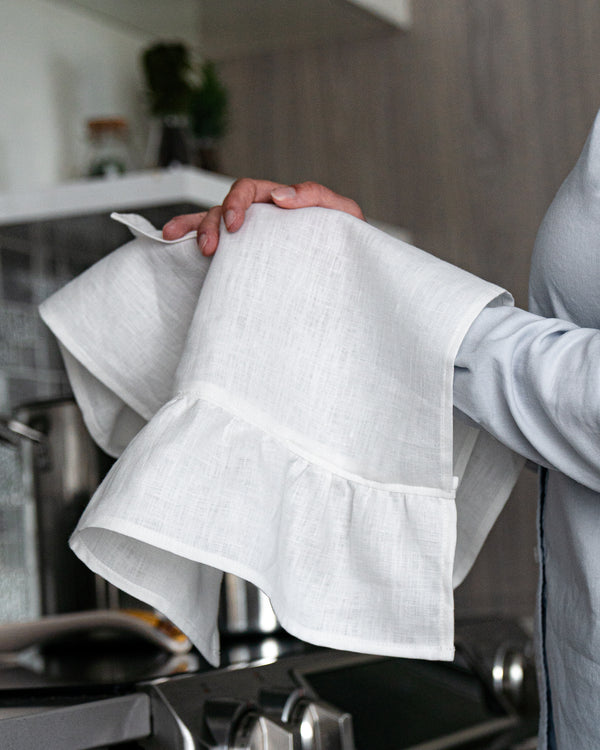 Organic Linen Tea Towels With Ruffles - White