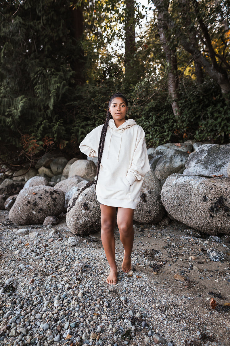 Oversized Natural Dyed Hoodie - Oatmeal