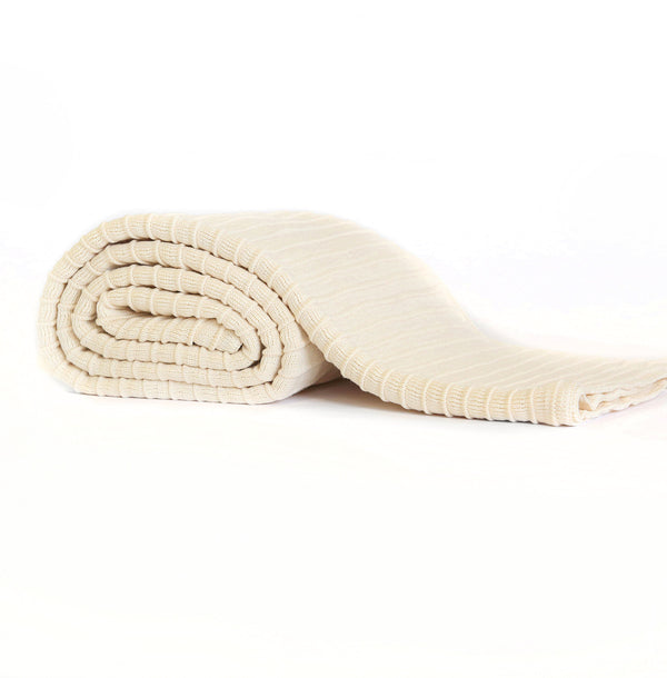 Pleated Knit Throw - Ivory
