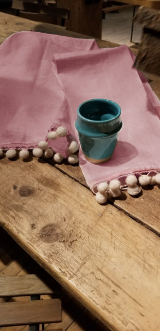 Organic Linen Tea Towels With Pom Poms - Rosewood