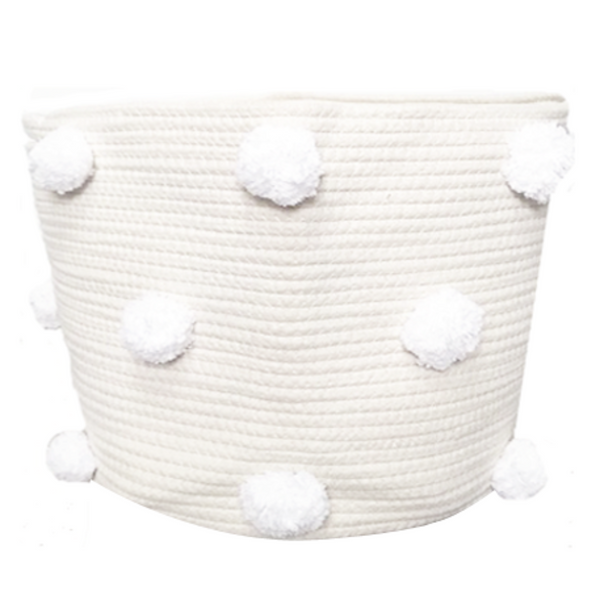 Large Pom Pom Basket - White