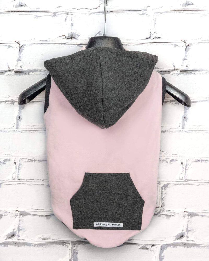 Bamboo Fleece Sleeveless Dog Hoodie - Holly - Pink/Grey
