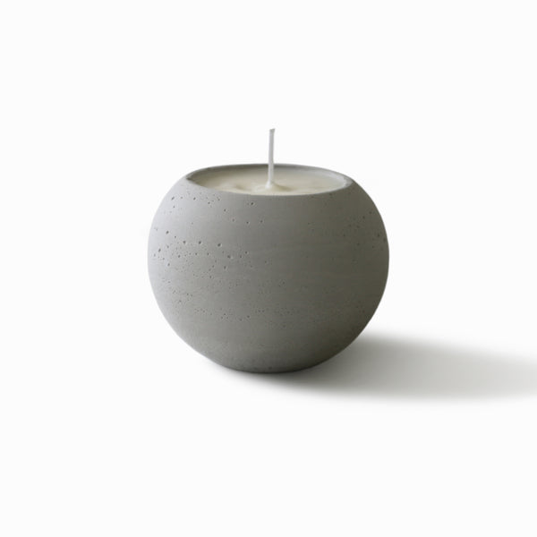 Concrete Sphere Scented Soy Candle - Light Grey - White Pear