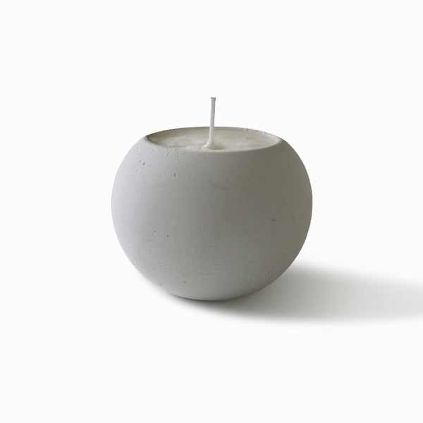 Concrete Sphere Scented Soy Candle - White - Eucalyptus