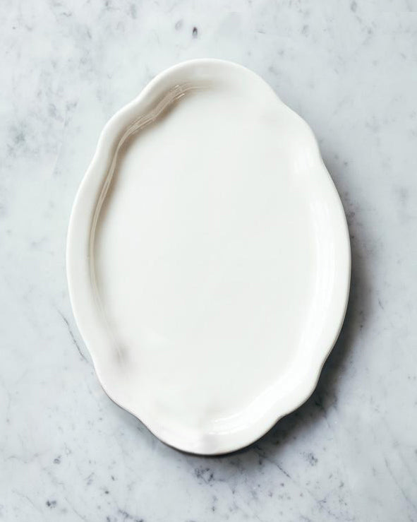 Porcelain Medium Oval Serving Platter - White