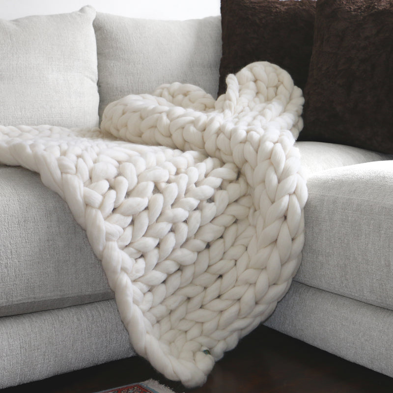 Large Chunky Knit Throw - 100% Hypoallergenic Merino Wool - Ivory