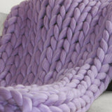 Large Chunky Knit Throw - 100% Hypoallergenic Merino Wool - Lavender