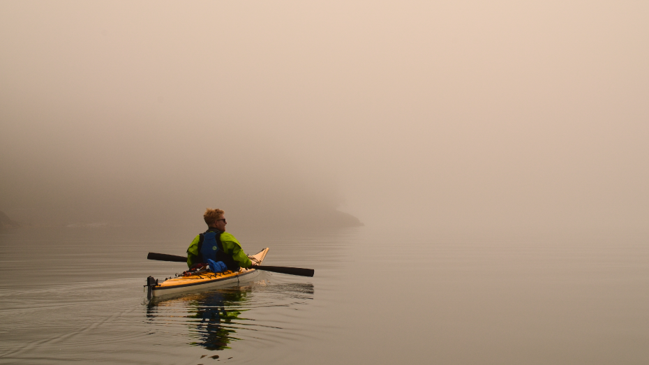 Duo Kayaks Inside Passage with Greenland Style Paddles