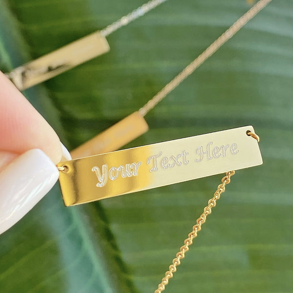 Personalized Bar Necklace Gold