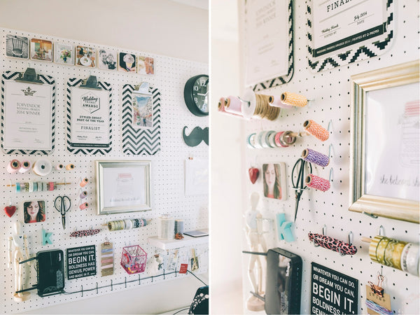Pinterest worthy office makeover pegboard DIY on Lovilee - Sugar and Vice
