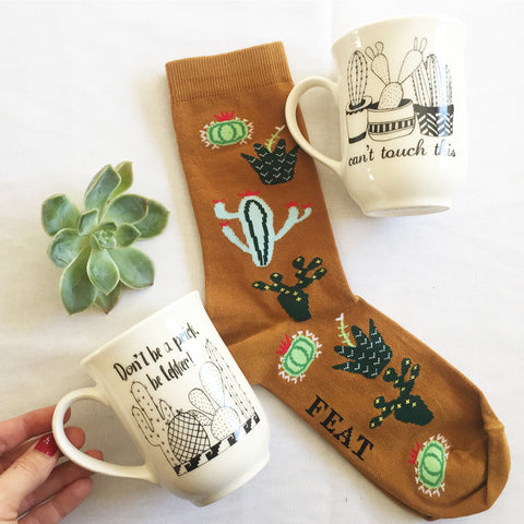 Cactus mugs and socks - sugar and vice