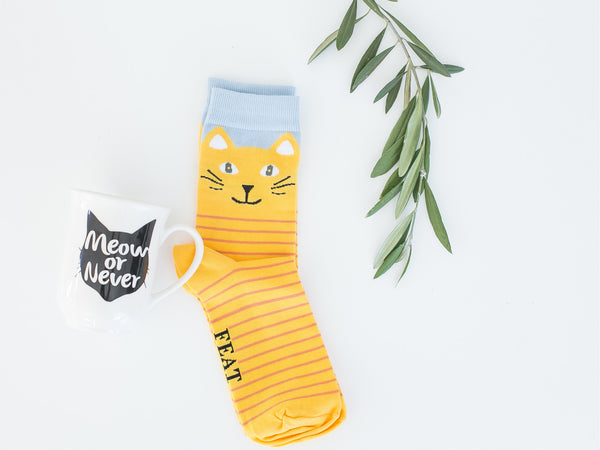 Cat mug & sock combo gift set online - Sugar and Vice