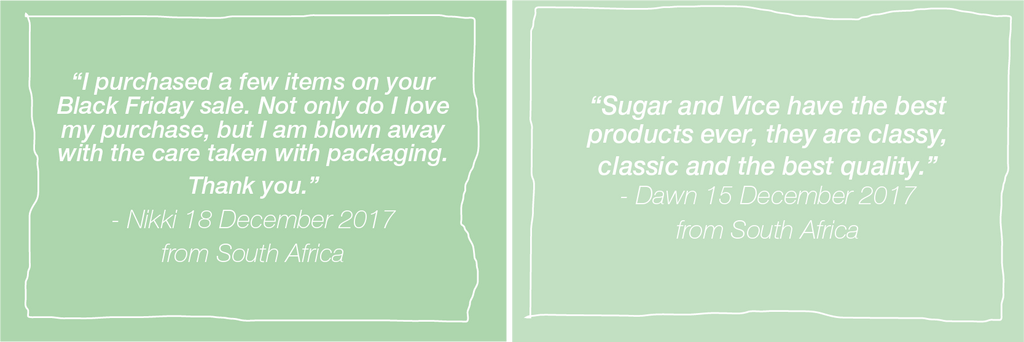 Customer reviews and Testimonials Sugar and Vice